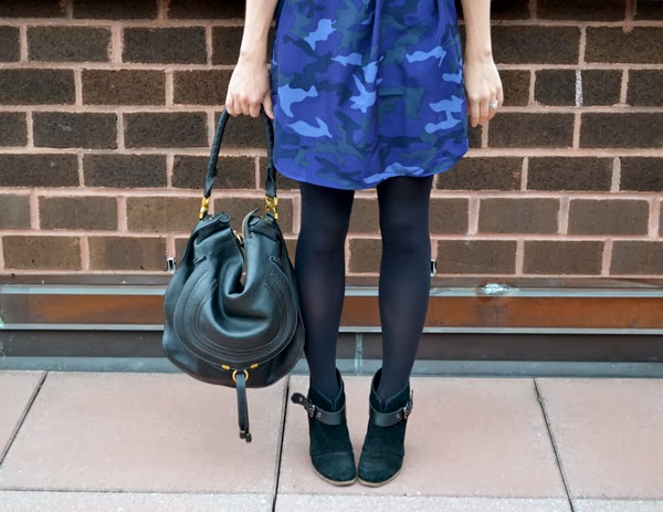 black and blue, camo dress, belle by sigerson morrison booties