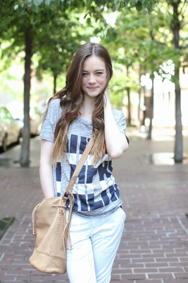 J.Crew Cheri t-shirt, Joie mabel bucket bag