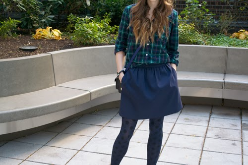 j.crew plaid shirt, j.crew polka dot tights, j.crew navy skirt