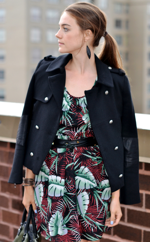 Madewell jungle dress, Madewell palm print dress