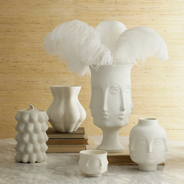 decorating with ostrich flowers, jonathan adler decorating with white ostrich flowers