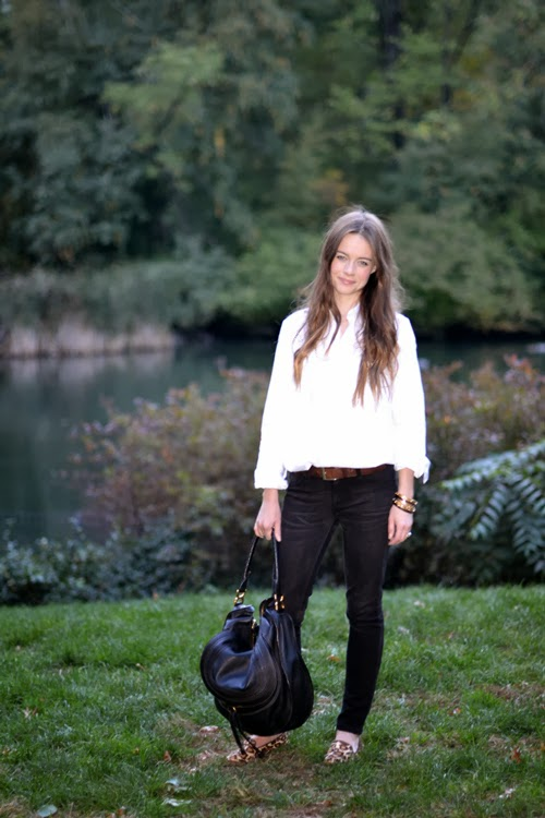 DL1961 black jeans, classic white shirt, chloe bag