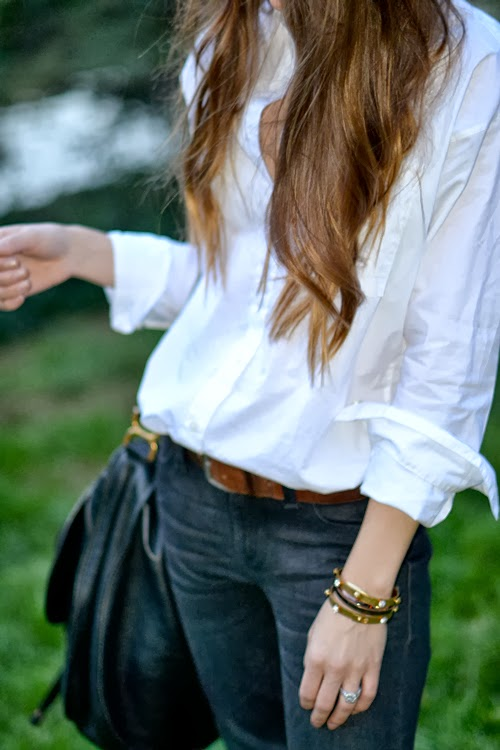 black jeans, white shirt