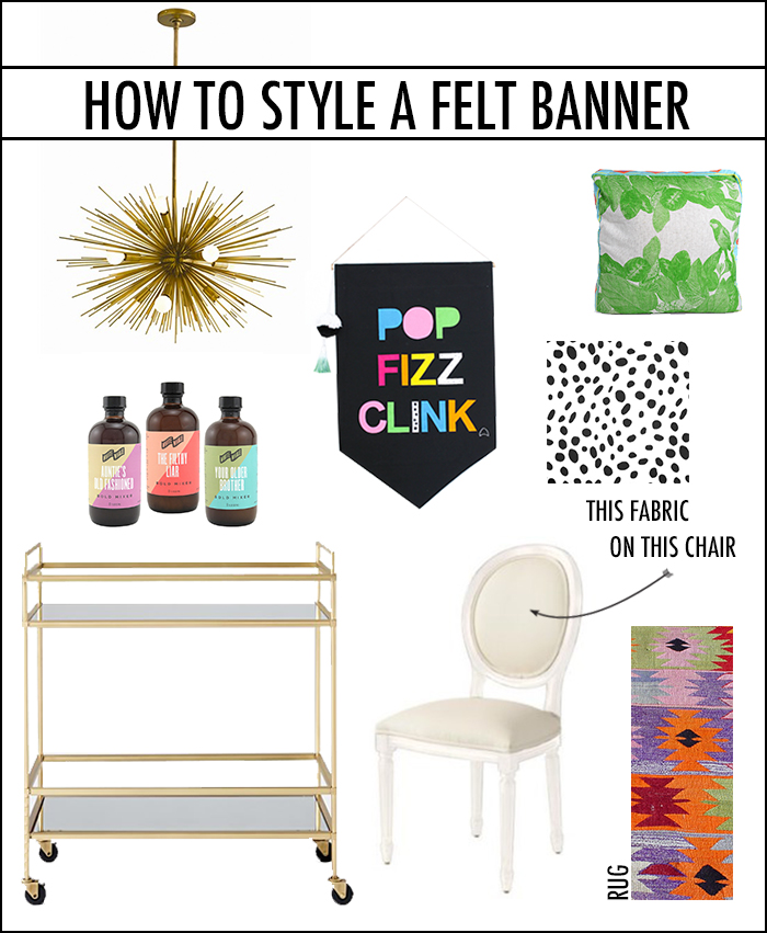 light | banner | pillow | cocktail mixers | fabric | bar cart | chair | rug