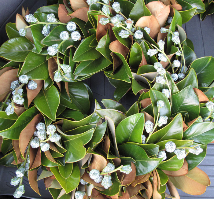 magnolia wreath with eucalyptus berries