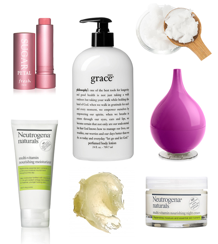 fresh sugar lipgloss|coconut oil|broksonic humidifier | neutrogena naturals night cream|aquaphor|neutrogena naturals moisturizer | philosophy grace lotion|blistex