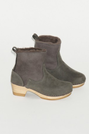 "No. 6 5"" Pull on Shearling Boot on Mid Heel in Storm Suede"