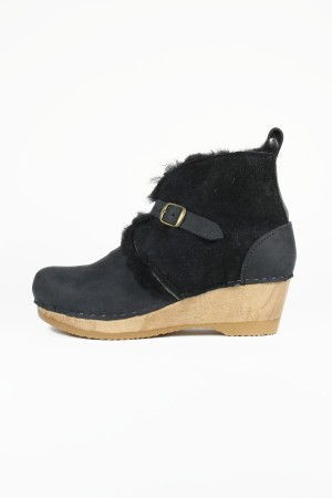 No. 6 One Strap Shearling Boot on Mid Wedge in Soft Black