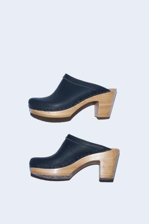 No. 6 Old School Clog on High Heel in Black
