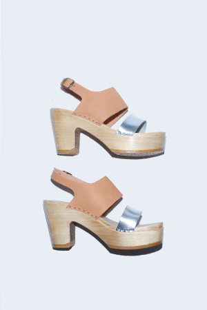 No. 6 Two Tone Clog on Platform in Naked/Silver