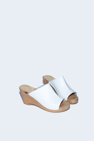 No. 6 Front Seam Slide Clog on Wedge in White