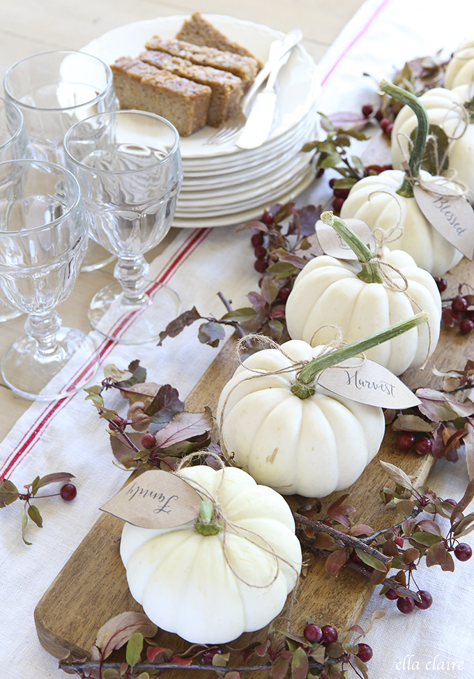 Fall Dining Table Inspiration White Gourds