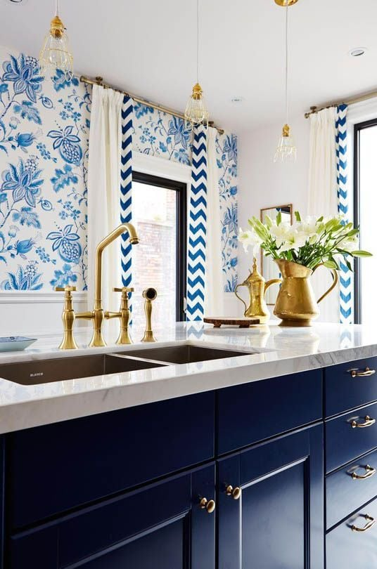 Blue and White Kitchens