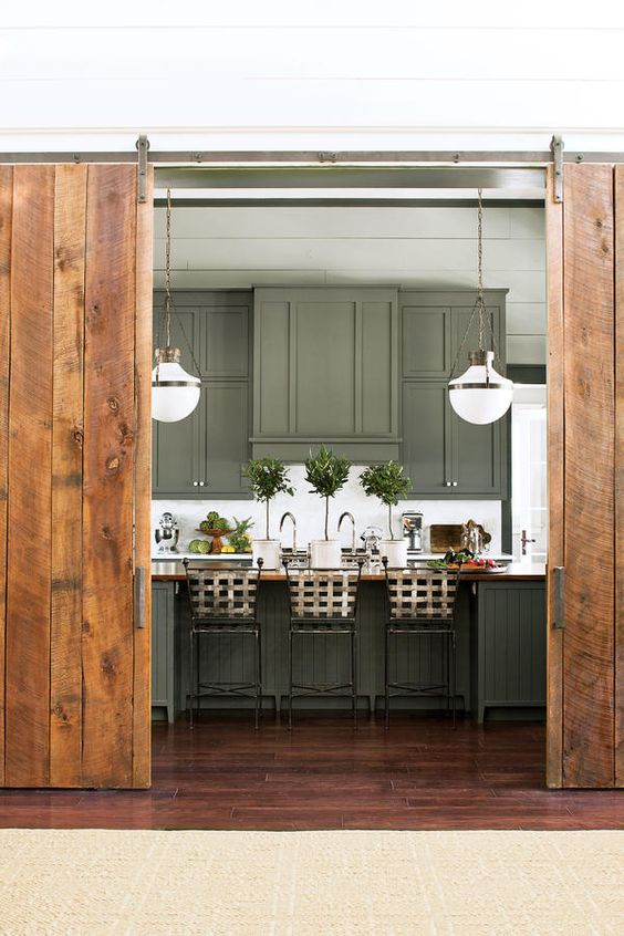 Green Kitchen, sliding barn doors