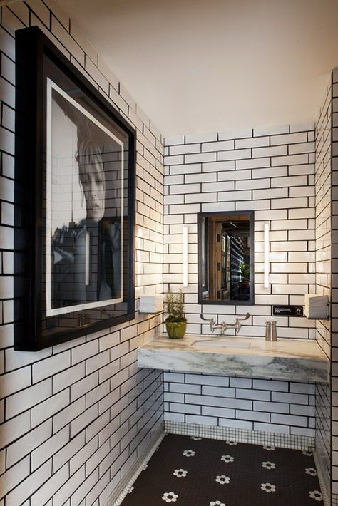 Bold bathroom, subway tile walls,