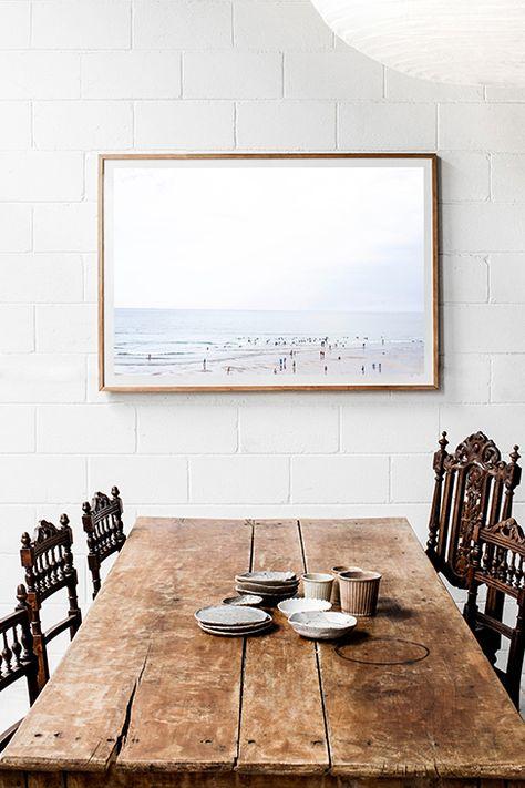 Barnwood table with beach print