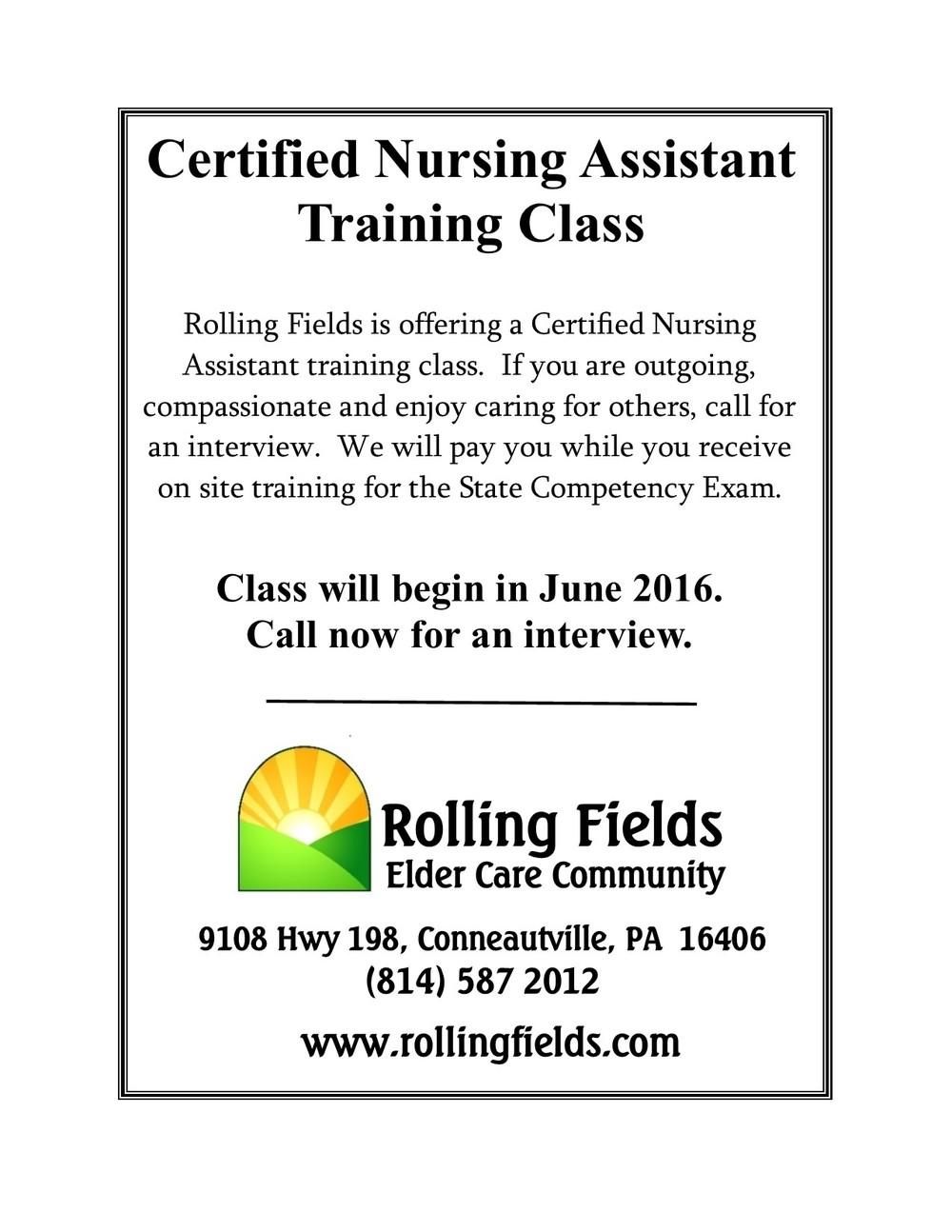 Certified Nursing Assistant Training Rolling Fields Elder Care