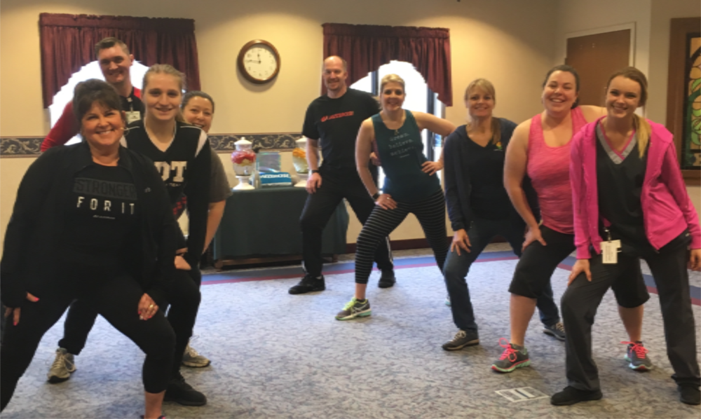 Rolling Fields Care Partners enjoy Jazzercise.
