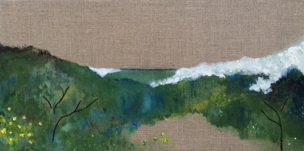 Blue Landscape I, oil paint and charcoal on linen, 20cm x 40cm