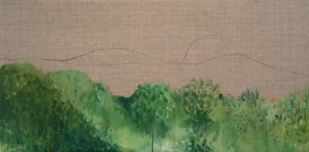 Green Landscape II, oil paint and charcoal on linen, 20cm x 40cm