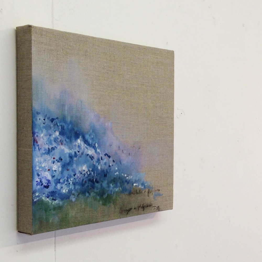 Polperro Bluebells, oil paint and charcoal on linen, 30cm x 30cm