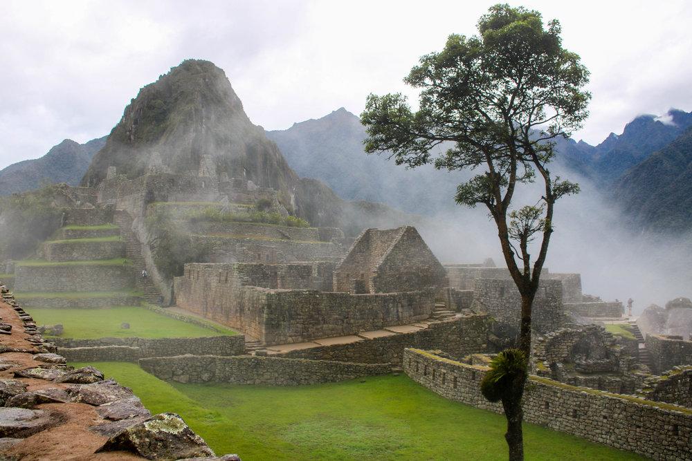 Misty Morning at Machu Picchu in Peru