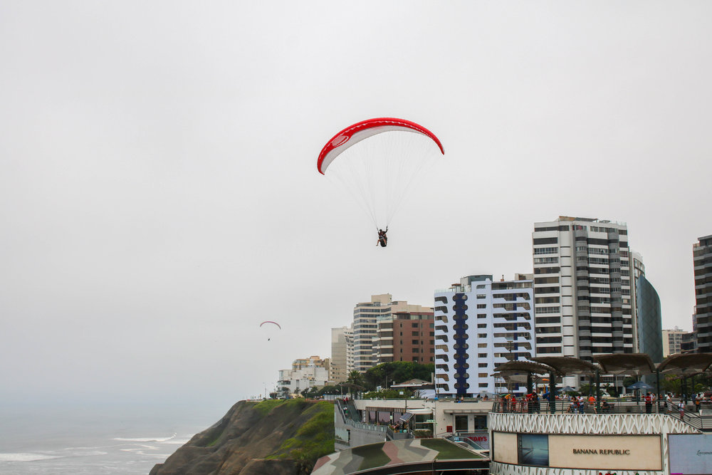 Paragliders over the Lima Coast, Peru