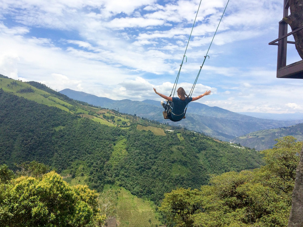 Flying High at The Swing At The End Of The World, Baños in Ecuador
