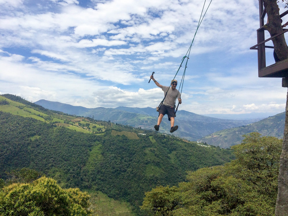 Craig on The Swing At The End Of The World, Baños in Ecuador