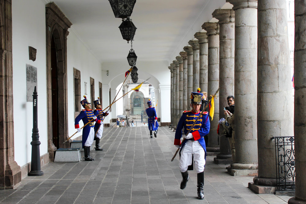 Changing the Guard in Quito, Ecuador