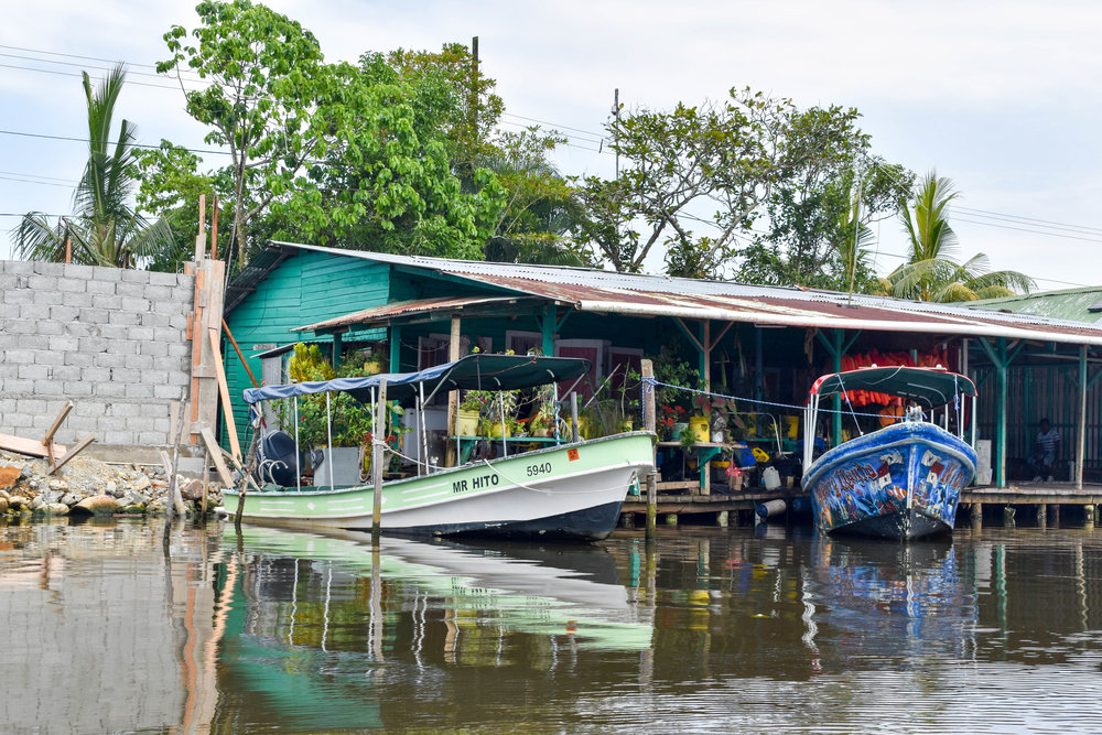 Colourful Boats Docked at Bocas Town in Panama
