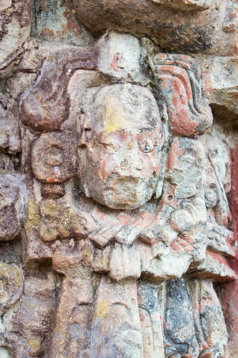 Colourful Ornately Decorated Stone Carvings in Copán, Honduras
