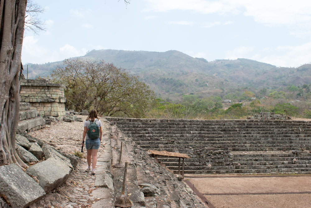 Walking Along Walls and Admiring Views in Copán, Honduras