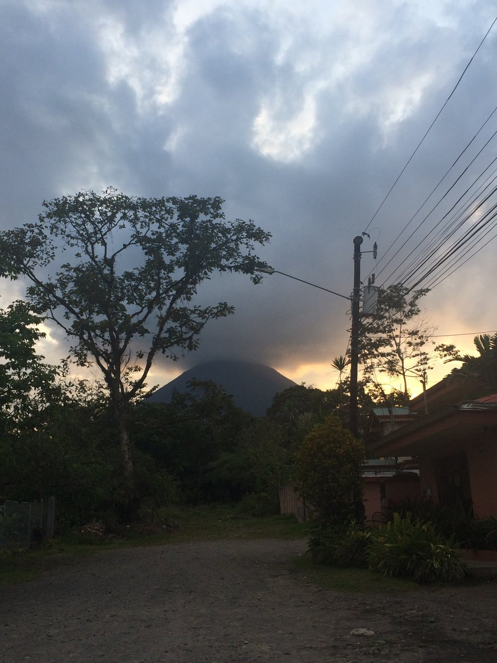 The Setting Sun and Arenal Volcano in La Fortuna, Costa Rica