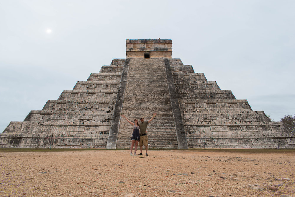 Craig and I at Chichén Itzá in Mexico, Our Forth New Wonder of The World