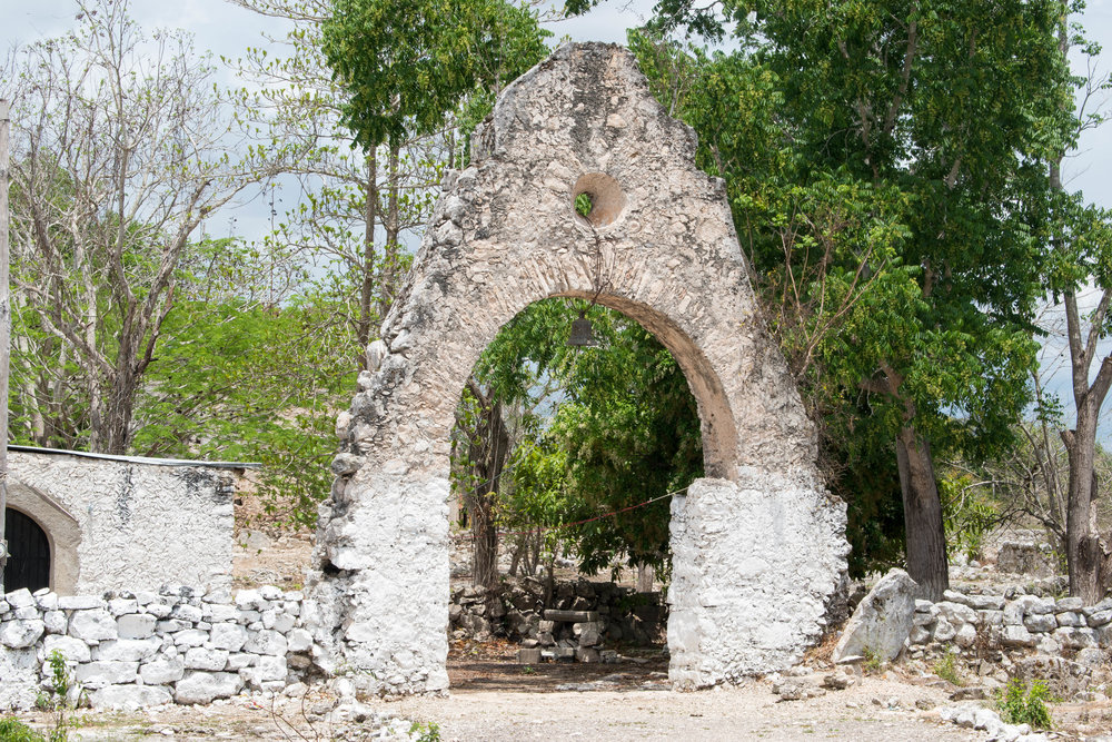 A Gateway and Bell in A Village Near Valladolid in Mexico