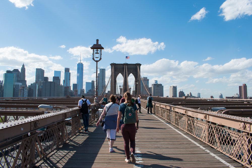 Crossing Brooklyn Bridge, New York
