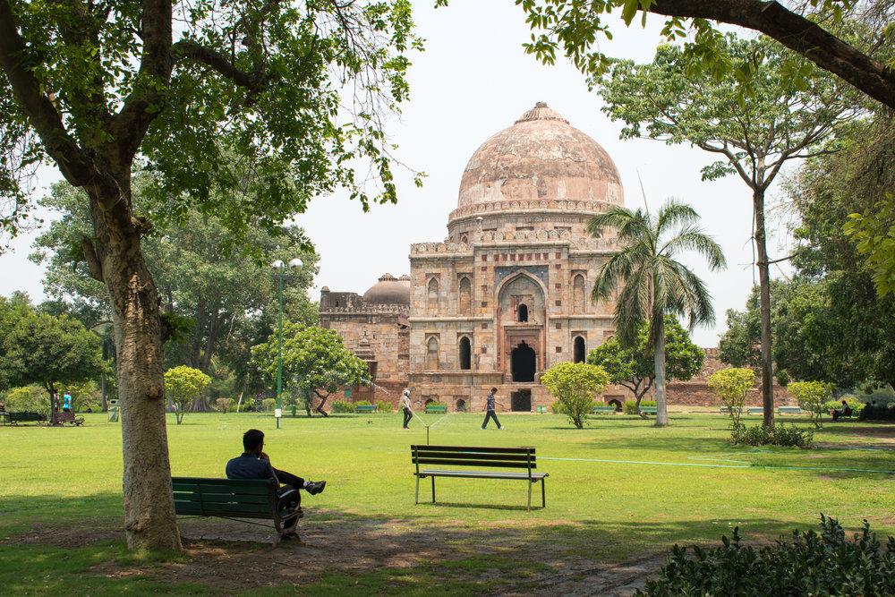 Inside Lodhi Gardens in Delhi, India