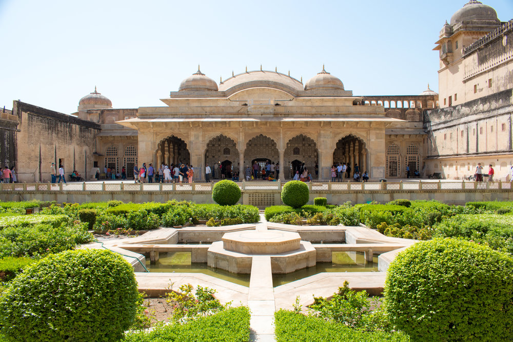 Interior Garden at Amber Fort in Jaipur, India