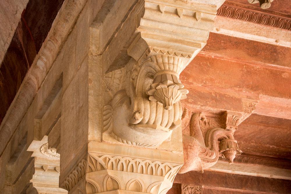 Interior Carvings at Amber Fort in Jaipur, India