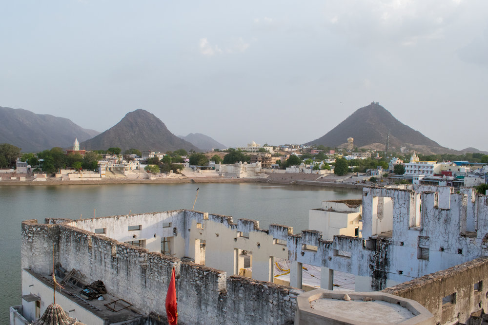 Rooftops And The Holy Lake In Pushkar, India