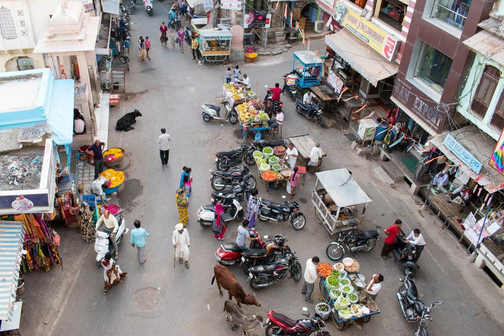 A Pushkar Street Scene From Above, India