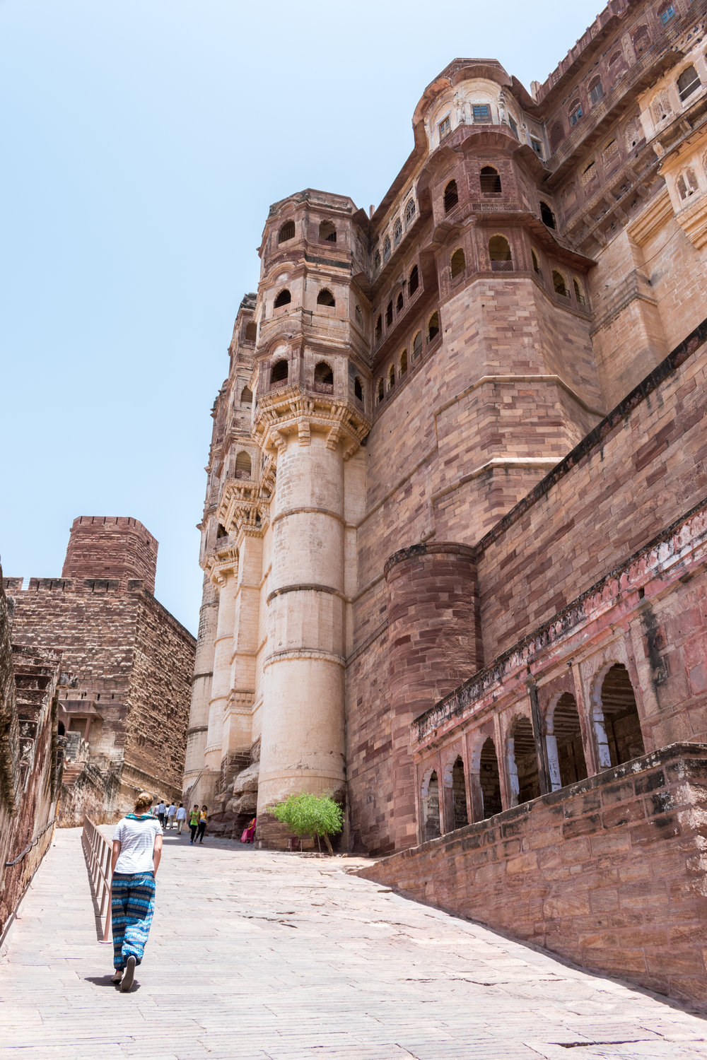 Walking The Steep Slope Of Mehrangarh Fort in Jodhpur, India