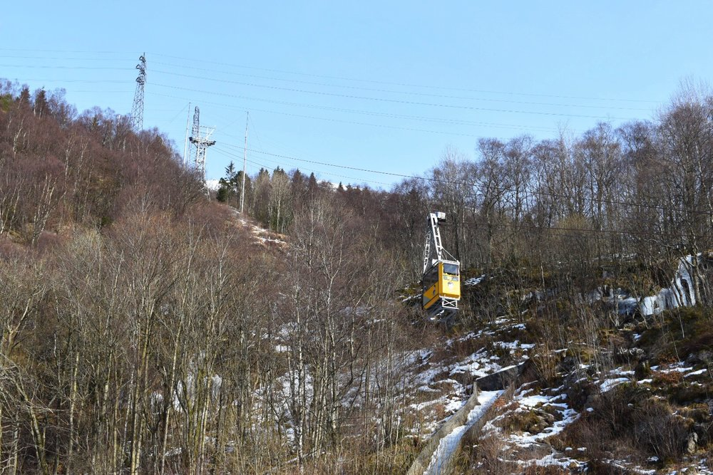 The Yellow Cable Car to Mount Unlriken in Bergen, Norway