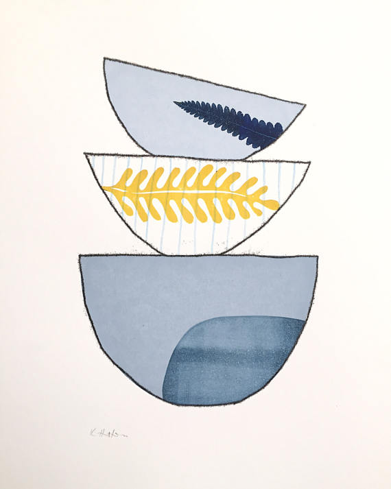 Stacking Bowls Print by Kathy Hutton Using Silkscreen, Block Print, Jelly Print & Monoprinting Techniques