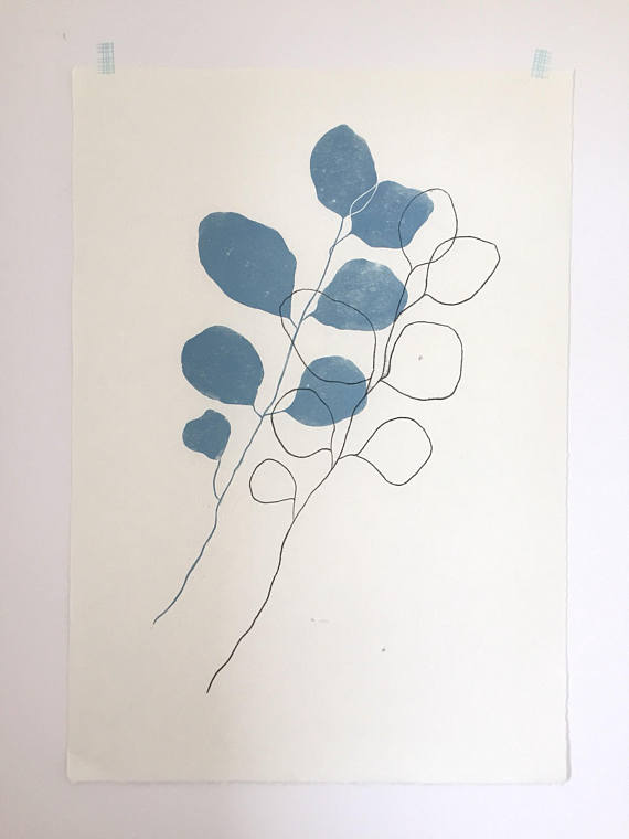 Legume 1 Hand Drawn Monotype Print by Kathy Hutton