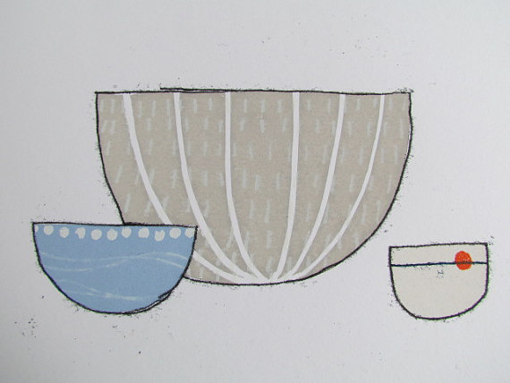 Bowl Study Print by Kathy Hutton Using Screen-print and Mono-print Techniques