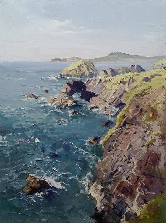 Craggy Rock at Trefin by Tom Gowen