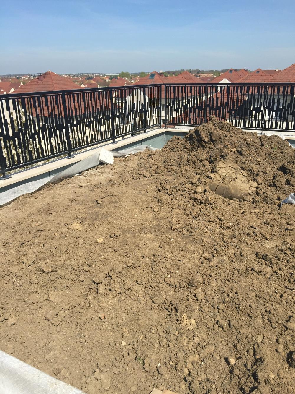 Acheminement de la terre végétale pour les rooftops