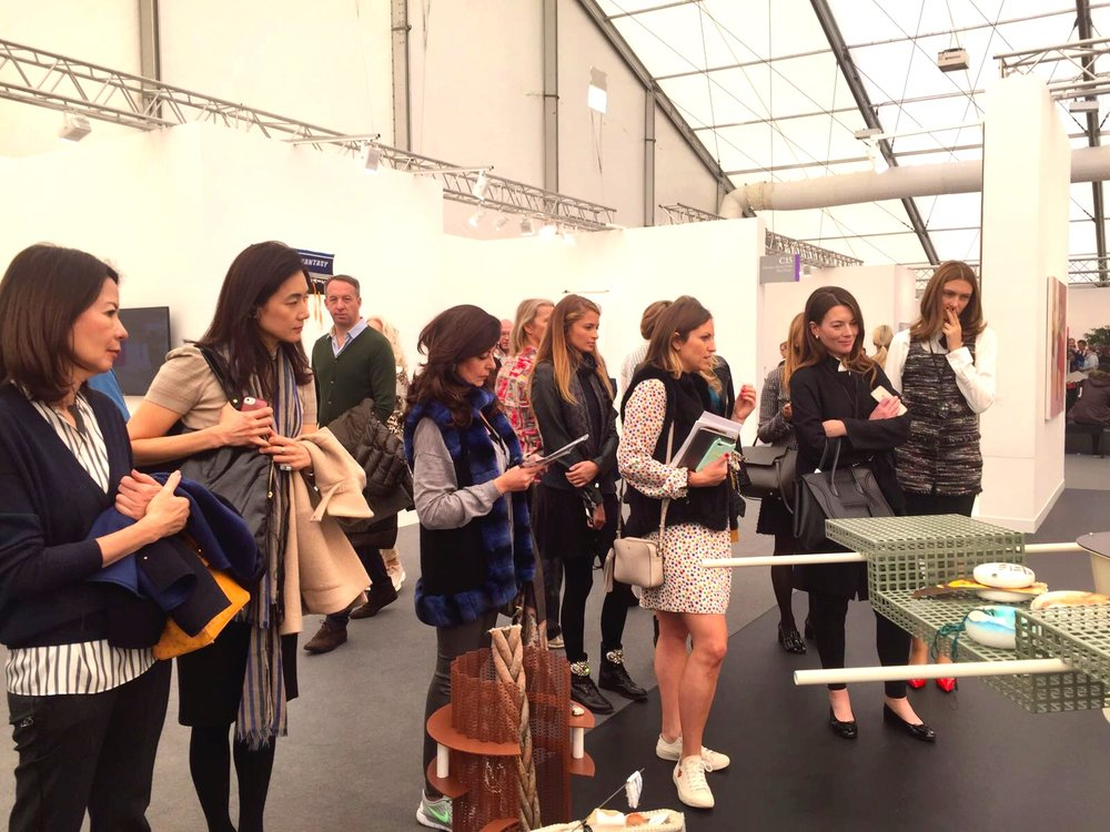 ArtSocial Club members exploring the assemblage of Helen Marten, a 2016 Turner Prize nominee, at Frieze Art Fair 2016.